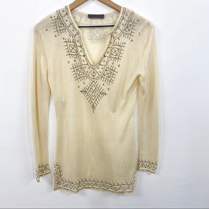 Alberta Ferretti Ivory Silk Beaded Sweater